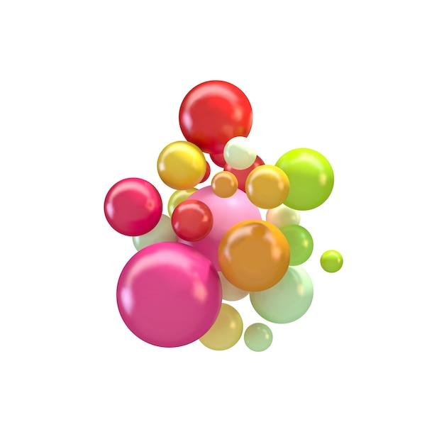 Abstrakcyjne Tło Z Kolorowych Kulek 3d, Błyszczące Bąbelki, Kulki. Premium Wektorów