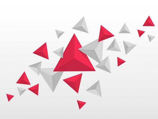 Abstrakcyjne trójk? tny elementy w kolorach czerwonym i szarym, latanie wieloboczne geometryczne kszta? ty tle. Darmowych Wektorów