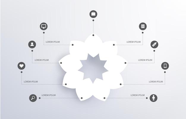 Abstrakcyjny Kwiat, Biały Kształt, Infografika Z Ikonami, Sieci Społecznościowe Premium Wektorów