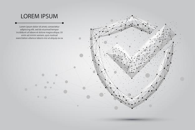 Abstrakcyjny obraz znacznika wyboru na tarczy składającej się z punktów, linii i kształtów. Premium Wektorów