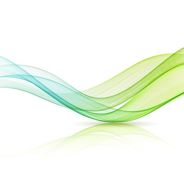 Abstrakcyjny Ruch Gładka Fala Kolorów. Zakrzywione Zielone I Niebieskie Linie Premium Wektorów