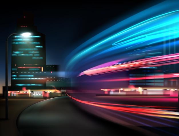 Abstrakcyjny Ruch Uliczny, światła Samochodowe W Nocy W Długiej Ekspozycji Na Tle Miasta Premium Wektorów
