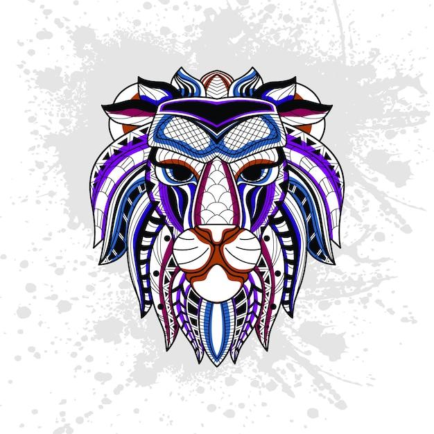 Abstrakcyjny wzór lwa Premium Wektorów
