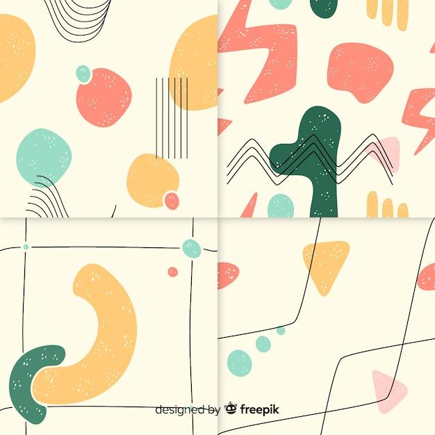 Abstrakcyjny wzór ręcznie rysowane zestaw Darmowych Wektorów