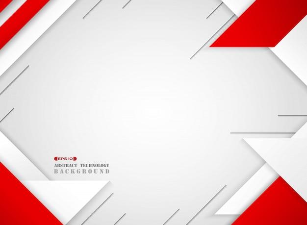 Abstrakt futurystyczny czerwieni i bielu geometryczny sci wzór na gradientowym białym tle Premium Wektorów