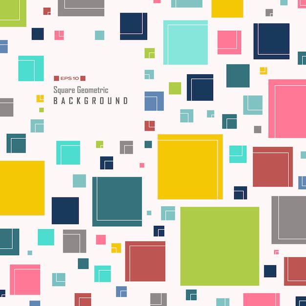 Abstrakt prosty kolorowy kwadratowy geometryczny wzór Premium Wektorów