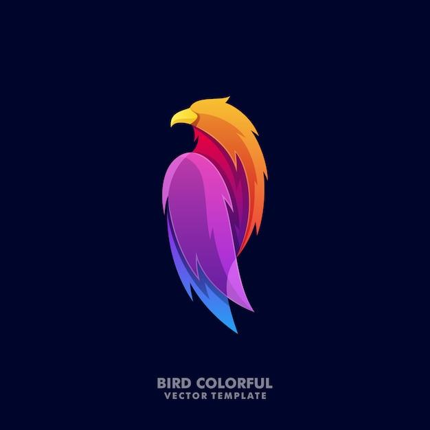 Abstrakta orła kolorowy ilustracyjny loga szablon Premium Wektorów