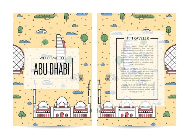 Abu dhabi podróżny szablon broszury podróżnej ustawiony w stylu liniowym Premium Wektorów