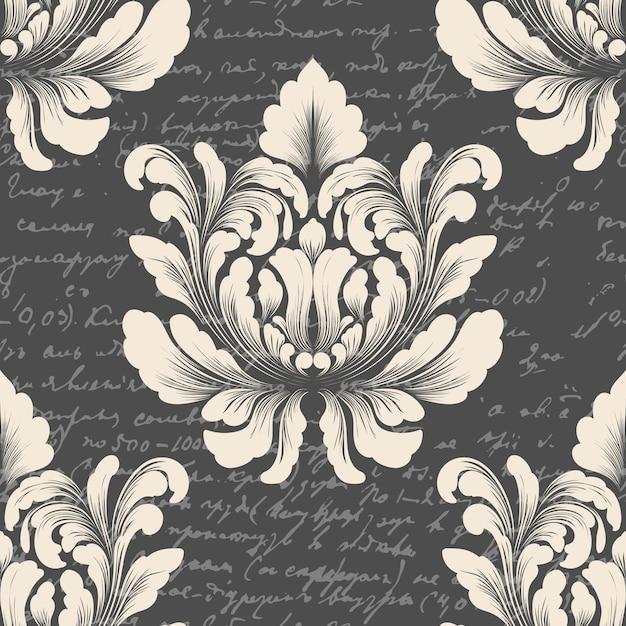 Adamaszek Wzór Z Starożytnym Tekstem. Klasyczny Luksusowy Staromodny Ornament Adamaszku, Królewska Wiktoriańska Bezszwowa Tekstura Do Tapet, Tekstylia. Darmowych Wektorów