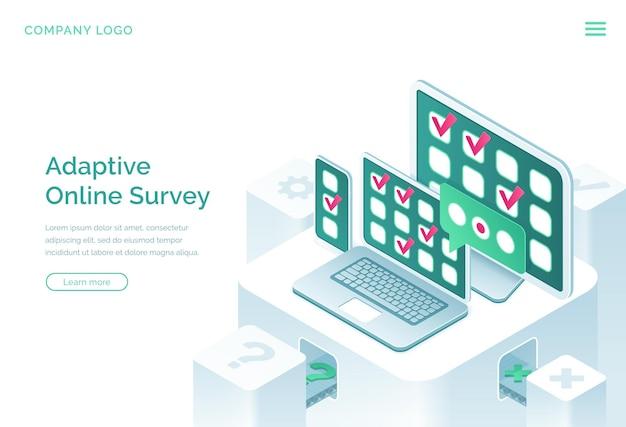 Adaptacyjna Izometryczna Strona Docelowa Ankiety Online Darmowych Wektorów