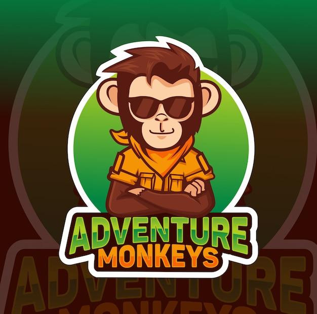 Adventre monkey, fajny projekt logo e-maskotki Premium Wektorów