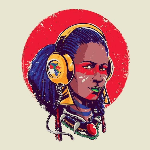 Afro Dziewczyna Premium Wektorów