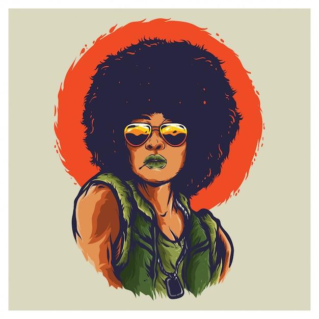 Afro Kobieta Wojna Wietnamska Ilustracja Premium Wektorów
