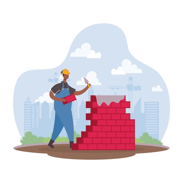 Afro Konstruktor Pracownik Z Cegły ściany Charakter Ilustracji Wektorowych Premium Wektorów
