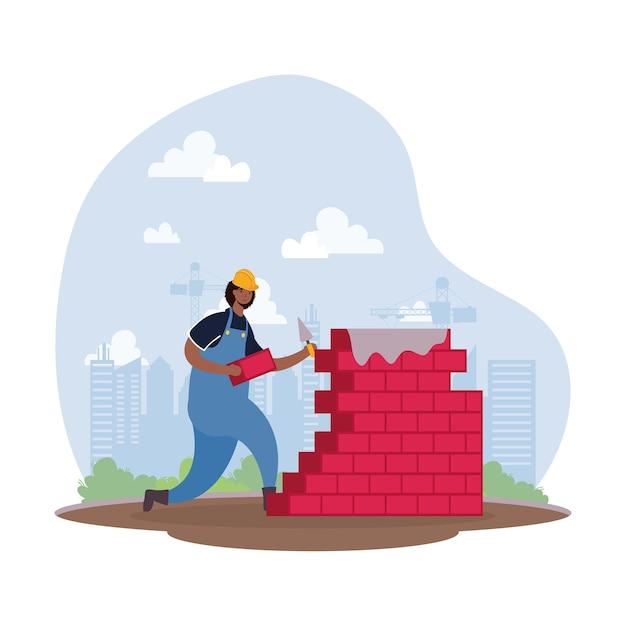 Afro Konstruktor Pracownik Z Cegły ściany Charakter Sceny Wektor Ilustracja Projekt Premium Wektorów