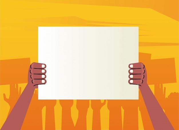 Afro Wręcza Ludzki Protest, Podnosząc Pusty Plakat Premium Wektorów