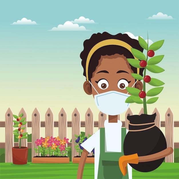 Afro żeński Rolnik Jest Ubranym Medyczną Maskową Scenę Premium Wektorów