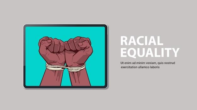 Afroamerykanie Czarne Pięści Przywiązane Liną Na Ekranie Laptopa Zatrzymać Rasizm, Równość Rasowa, Czarne życie Materia Kopia Przestrzeń Premium Wektorów