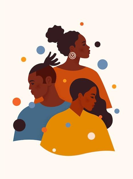 Afroamerykanie I Kobiety W Kolorowych Ubraniach Stoją Jeden Po Drugim Premium Wektorów
