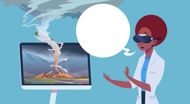 Afroamerykanka W Wirtualnych Okularach 3d Ogląda Transmisję Z Tornado Hurricane Damage News O Burzy Waterspout W Wiejskiej Koncepcji Klęski żywiołowej Premium Wektorów