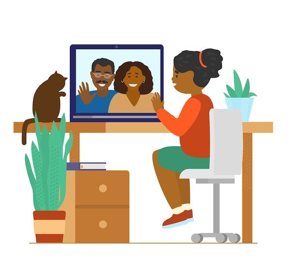 Afroamerykańska Dziewczyna Rozmawia Z Rodzicami Przez Wideokonferencję. Wideokonferencja Rodzinna. Premium Wektorów