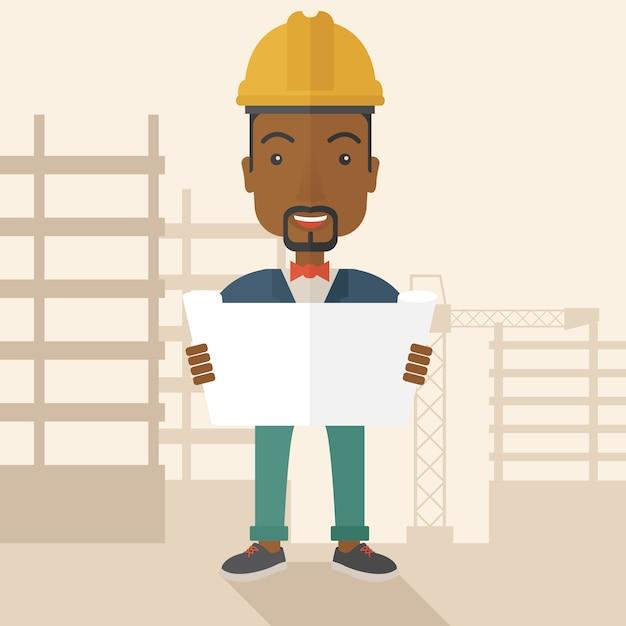 Afroamerykański pracownik budowlany trzyma plan. Premium Wektorów