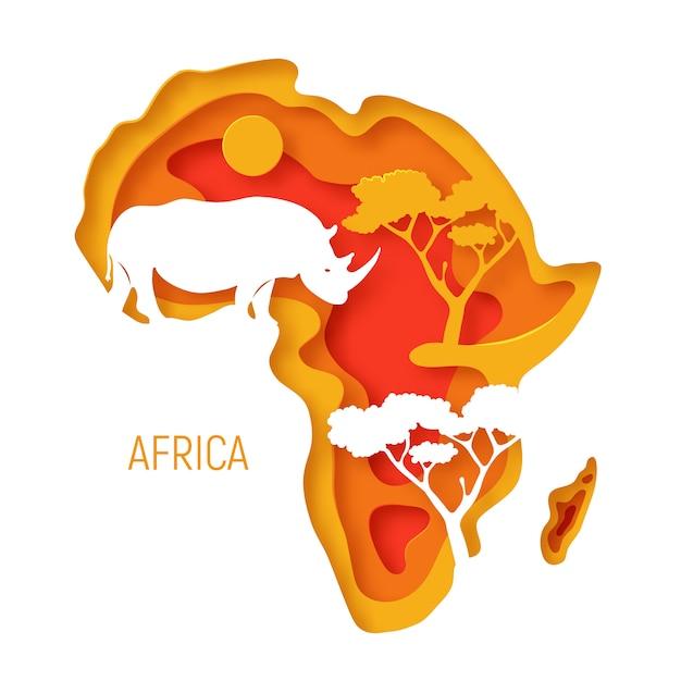 Afryka. dekoracyjna 3d wycinana papierowo mapa kontynentu afrykańskiego z nosorożcem sylwetkowym. 3d wycinany z papieru ekologiczny. Premium Wektorów