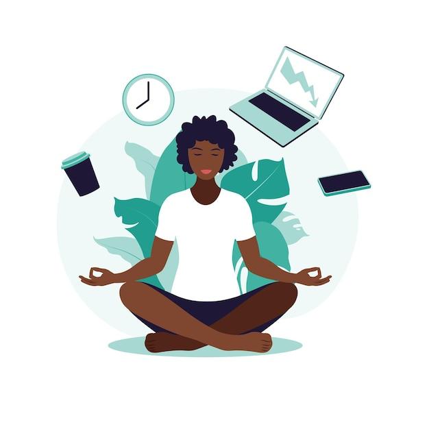 Afrykańska Biznesowa Kobieta Praktykuje Medytację I Jogę Z Ikonami Pakietu Office Premium Wektorów