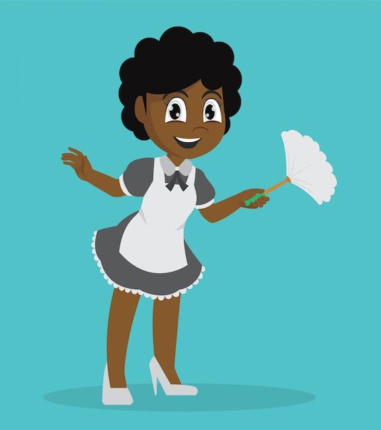 Afrykańska dziewczyna trzyma duster cleaning. Premium Wektorów