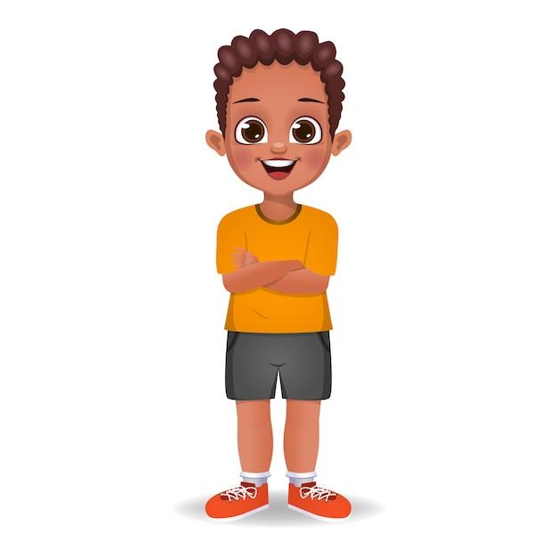Afrykański Dzieciak Chłopiec Stojący Z Rękami Skrzyżowanymi Na Białym Tle Premium Wektorów