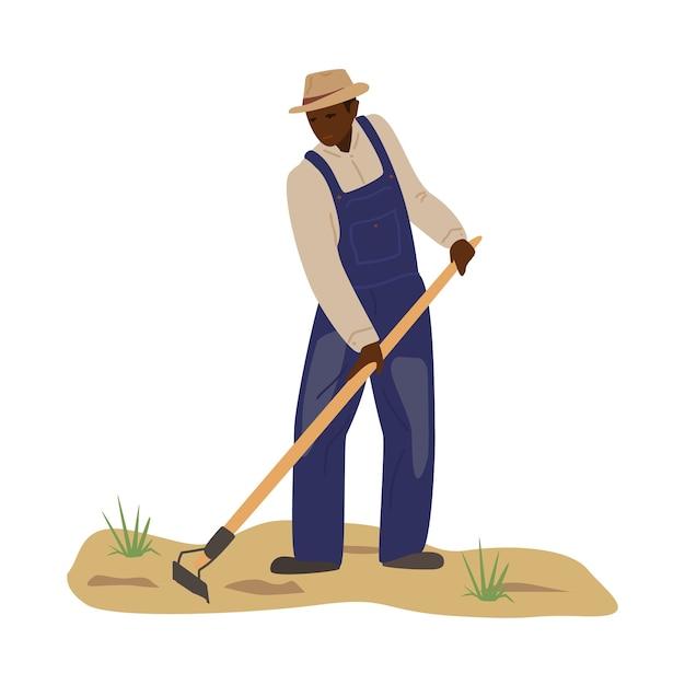 Afrykański Mężczyzna W Kombinezon I Słomkowy Kapelusz Pracujący W Polu Premium Wektorów