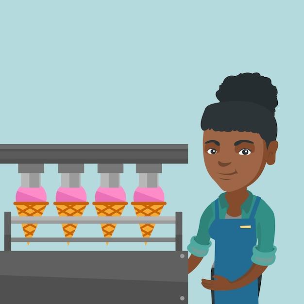 Afrykański pracownik fabryki lodów. Premium Wektorów