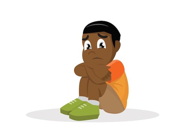 Afrykański Smutny Chłopiec. Premium Wektorów