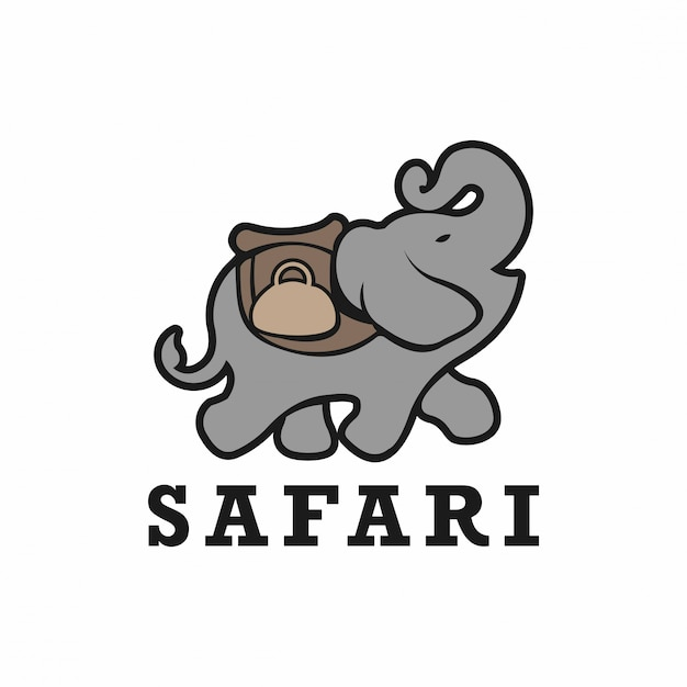 Afrykańskie Logo Słonia Safari Premium Wektorów