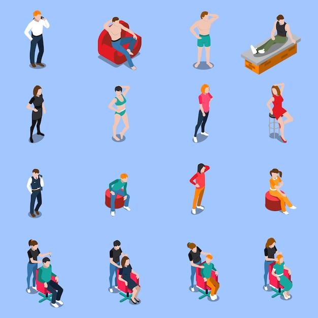 Agencja Modelek Zestaw Izometrycznych Ludzi Pozujących Do Aparatu Na Niebiesko Darmowych Wektorów