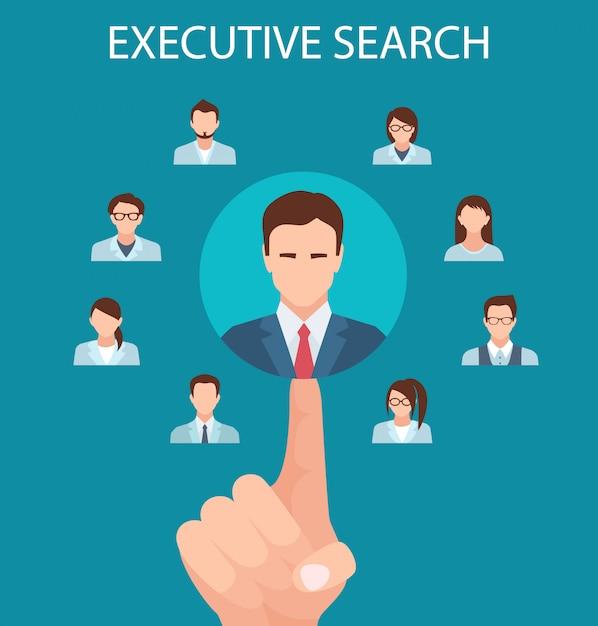Agencje rekrutacyjne flat banner executive search. Premium Wektorów
