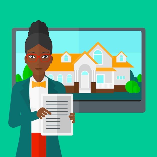Agent nieruchomości oferujący dom. Premium Wektorów