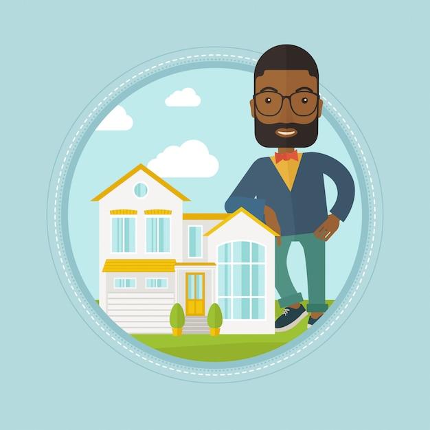 Agent nieruchomości oferujący dom Premium Wektorów