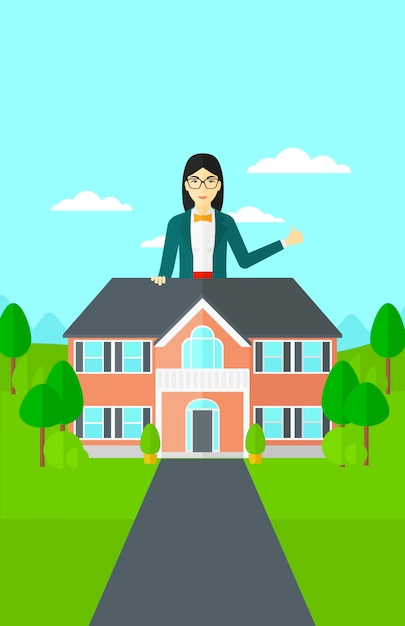 Agent nieruchomości pokazuje kciuk up. Premium Wektorów
