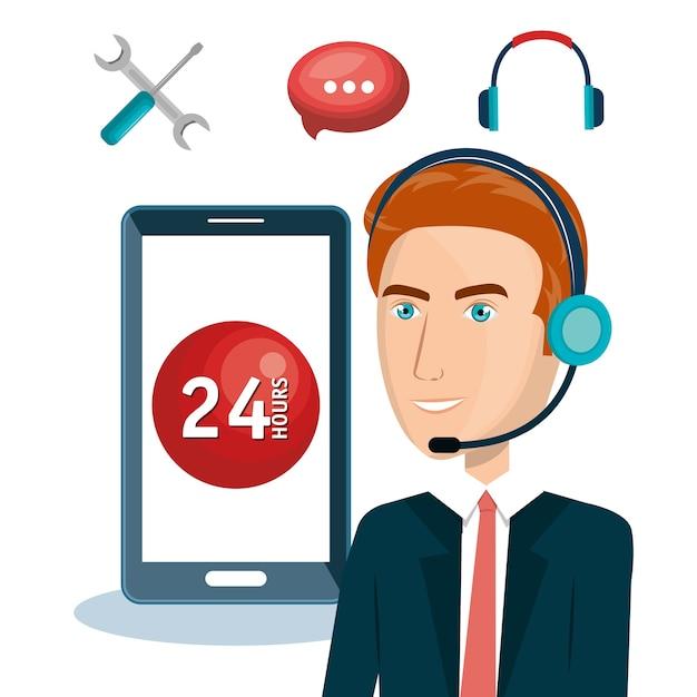 Agent Obsługi Klienta Pracuje Online Wektor Ilustracja Projektu Premium Wektorów