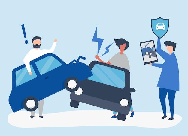 Agent ubezpieczeniowy rozwiązujący wypadek samochodowy Darmowych Wektorów
