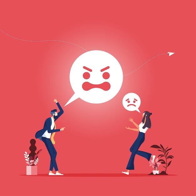 Agresja Pracownika Lub Osoba Krzycząca Para Mężczyzna I Kobieta Kłócąc Się O Emocje Premium Wektorów