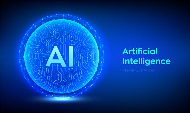 Ai. Tło Sztucznej Inteligencji I Uczenia Maszynowego Premium Wektorów