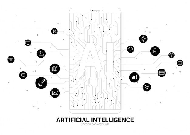 Ai W Telefonie Komórkowym Z Grafiką Obwodu. Koncepcja Telefonii Komórkowej Z Uczeniem Maszynowym. Sztuczna Inteligencja Premium Wektorów