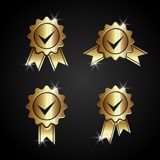 Akceptowane złoto zatwierdzone wektor Premium Wektorów
