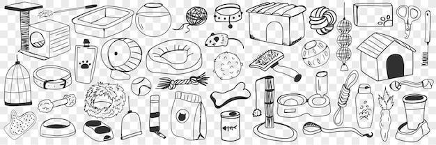 Akcesoria I Zabawki Dla Psów Doodle Zestaw. Kolekcja Ręcznie Rysowane Pędzla, Jedzenia, Smyczy, Hodowli, Kości, Zabawek, Rękawicy, Placu Zabaw I Innych Akcesoriów Dla Psów Domowych Na Białym Tle Premium Wektorów