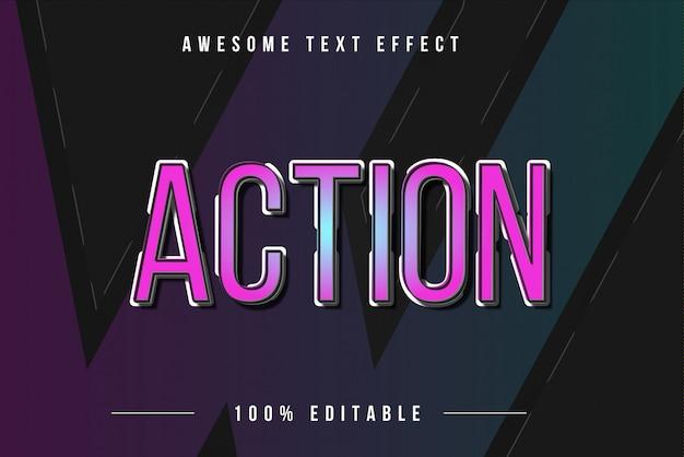 Akcja Kolorowy Efekt Tekstowy 3d Premium Wektorów