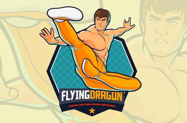 Akcja Myśliwca Flying Kick Dla Ilustracji Sztuk Walki Lub Projektu Logo Siłowni Premium Wektorów