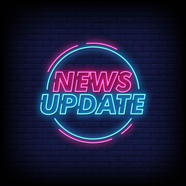 Aktualności Aktualizacja Neonowych Znaków Styl Tekst Wektor Premium Wektorów