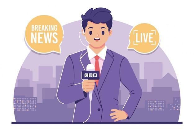 Aktualności Reporter Ilustracja Płaska Konstrukcja Premium Wektorów